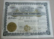 1919 Erneing Oil Company Stock Certificate Sioux City, Iowa