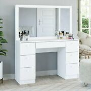 Artemisia Modern Vanity Table With Mirror And 7 Drawers, White Finish