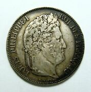 France 1834 D 5 Francs Nicely Toned Philippe I Coin Free Shipping In Usa