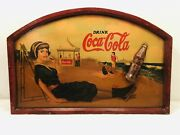 Vintage Coca Cola Sign Wood Beach Scene 3d Hand Painted Great Colors