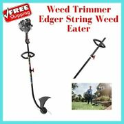 Weed Trimmer Edger String Weed Eater Lawn Garden Curved Shaft 2-cycle Gas 25cc