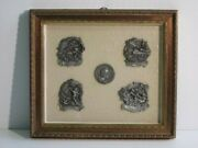 Vintage Painting Display With 5 Sculptures Miniatures Altorilievi In Pewter Xx C