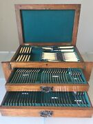 Antique Cutlery Canteen Silver Plate Arts And Crafts Lees And Sons 87-piece 2-drawer