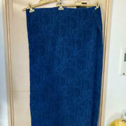 Christian Dior Auth. Trotter Terry Cloth Beach Towel Cotton Navy Blue Defect