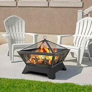 Fire Pit Outdoor Wood Burning 24in Fireplace Mesh Large Lid In Bronze Backyard