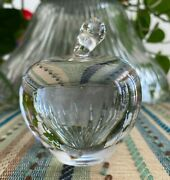 Vintage Signed And Co. Thick Stem Crystal Apple Paperweight