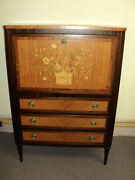 Antique French Style Marquetry Chest/drop Front Desk By John Widdicomb