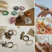 Simple Pearl Resin Acrylic Finger Rings Multi-color Geometric Ring Party Women