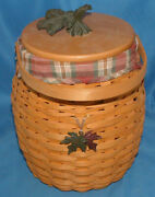Longaberger 2000 Fall October Fields Basket With Protector, Liner, Lid, Tie-on