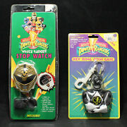 1993 Lot Of 2 Power Rangers Key Ring Coin Case And White Ranger Stop Watch Nrfb
