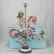 Lladro Figurine 1469 Girl On Carousel Horse, As Is, Damaged Flowers