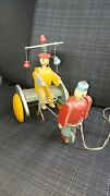 Red China Rare Wooden Pull Toy No Tin Vintage