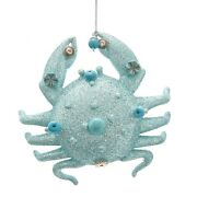 Blue Crab With Glitter And Beads Christmas Holiday Ornament 4.25 Inches