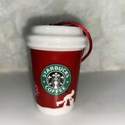 Starbucks Coffee 2006 Holiday Ornament Go Cup. To Go Cup Red White 2.5 Ceramic