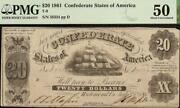 1861 20 Confederate States Of America Currency Civil War Note Money T-9 Pmg 50