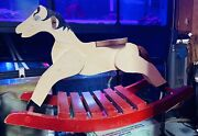 Antique Rocking Horse Andldquopony Boyandrdquo Wooden W/ Twine Tail Red And White W/ Blue Eyes
