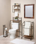 Scrolled Metal And Seagrass Bathroom Collection Storage And Racks Separates Or Set