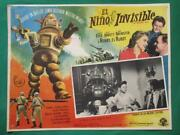 The Invisible Boy Sci-fi Robby The Robot Beautiful Art Spanish Mexico Lobby Card