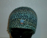 Crochet Hat Beanie Adult Size With Ghostbusters Zuul Hound Pin Made Usa Knit