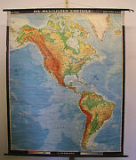 Wall Map Western Erdhälfte 63 3/8x78in 1970 Vintage New World Poster