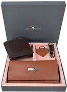 New Spencer Leather Wallets And Keyrings Combo Gift Set For Couple Unisex