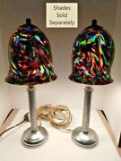 Vtg Pair 2 Art Deco Arts And Craft Nickel Candlestick Table Lamps 1900-1940