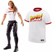 Wwe Rowdy Ronda Rousey Mattel Basic Action Figure And Oficial T-shirt Size Xl