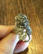 Sterling Silver Marcasite Rose Ring Art Deco Size 5.5
