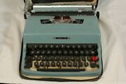 Vintage Olivetti Lettera 32 Manual Typewriter Original Case Made In Italy Blue