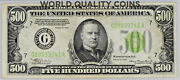 1934 500 Bill Federal Reserve Note Chicago Light Green Pmg Xf40 Fr.2201-glgs