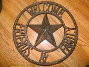 Large Round Cast Iron Western Decor Welcome Friends And Family Very Nice New