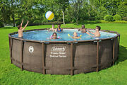 """Coleman Power Steel Deluxe Series 18' X 48"""" Metal Frame Round Above Ground Pool"""