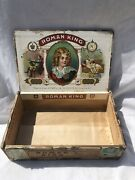 Antique Roman King Wooden Cigar Box Powell Goldstein Oneida Ny Rare 20andrsquos Tobacco
