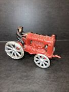 Antique Cast Iron Toy Tractor With Driver Vintage Farm Toys 6 Inches