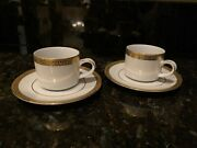 4 Gold Buffet Royal Gallery China White W Gold Trim Coffee/tea Cup And Saucer 1991