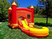 Commercial Inflatable Bounce House Volcano Wet Dry Slide 100 Pvc Pool And Blower