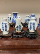 A Group Of Six Antique Chinese Blue And White Snuff Bottles Medicine Bottles.