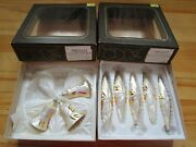 Alderbrook Made In Czechoslovakia Lot Of 8 Glass Xmas Ornaments Vintage W/boxes