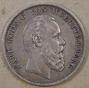 Wurttemburg 1875-f Five Mark Mid-better Circulated Grade Coin