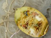 Antique Silver Persian Shell Pendant Hand-painted Deer Horses Sterling Necklace
