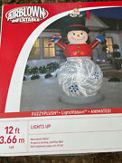 Gemmy 12andrsquo Animated Fuzzy Snowman Lighted Christmas Inflatable Airblown New