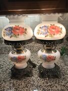 Vtg Pair Gwtw White Milk Glass W/roses 16andrdquo 3 Way Lamps Accurate Castings Exc 🌹