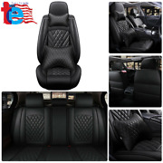 Quality 14pc Interior Black Waterproof Car Seat Cover 5-seats Full Set Protector