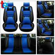 Blue And Black Car Seat Cover 14pc Interior Waterproof 5-seats Full Set Protector