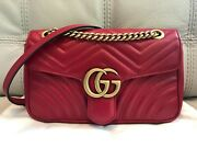 Pre-owned Gg Marmont Matelasse Red Leather Handbag Small