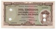 India Portuguese Portugal 1000 Escudos 1959 Pick 46 Cancelled Look Scans