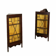 Pair Of Small Corner Showcases England Late 1800s Early 1900s