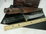 Antique Fitch Model 1996 Custom American Bowie Knife With Leather Sheath Hm