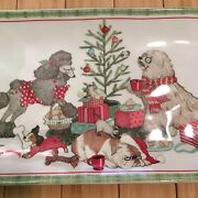 Pier One 1 Ironstone Christmas Morning Pups Serving Dish Plate Dogs Puppies 6x14