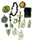 Vintage Christianity Catholic Pins Charms Pendants Crucifix Collection Of 13 Pc